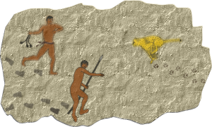 cave painting of a hunter killing a leopard